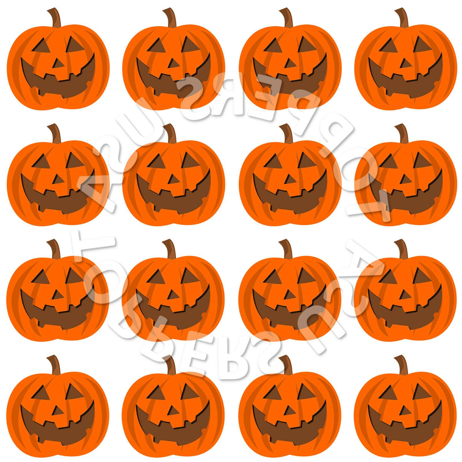 16x edible halloween pumpkin face cupcake toppers