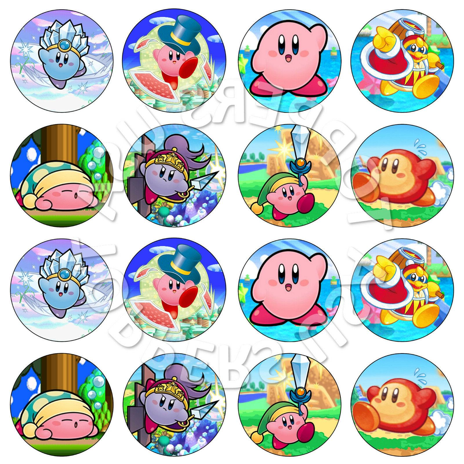 16x edible kirby birthday party cupcake toppers