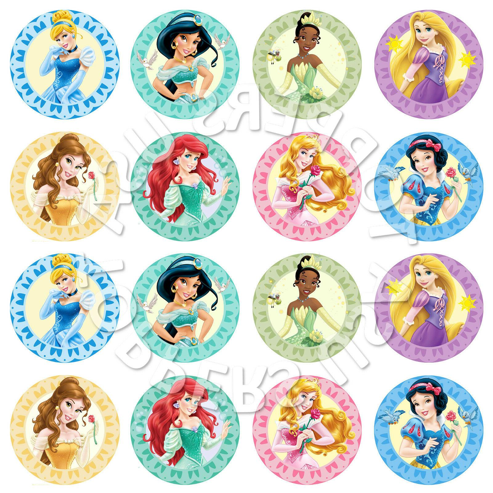 16x edible princess assorted cupcake toppers wafer