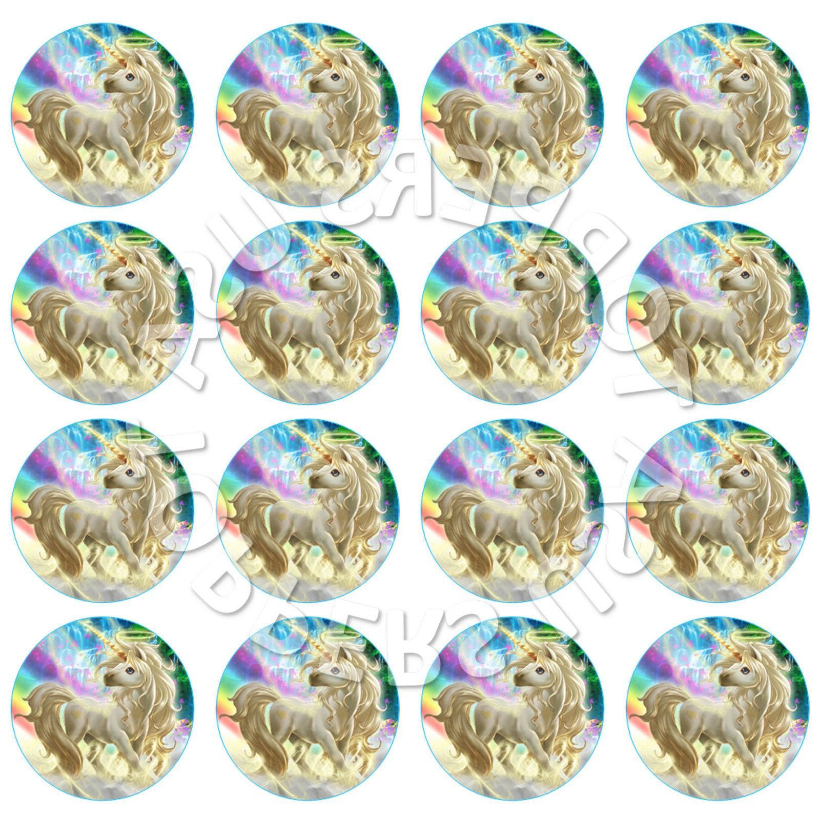 16x edible rainbow unicorn birthday cupcake toppers