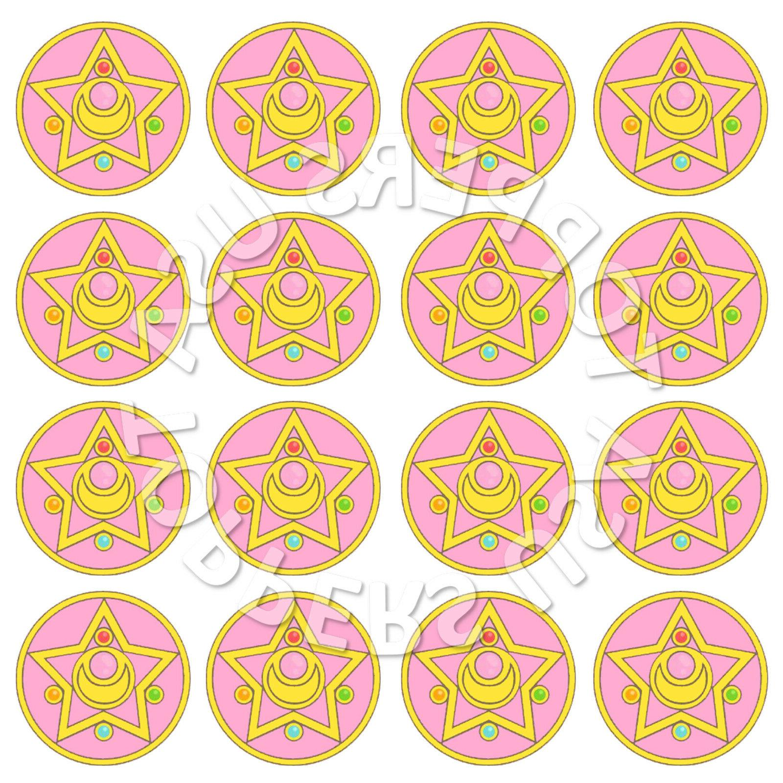 16x EDIBLE Sailor Moon Birthday Party Cupcake Toppers Wafer
