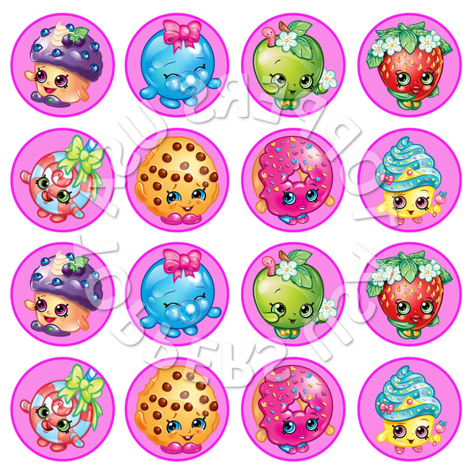 16x edible shopkins birthday party cupcake toppers