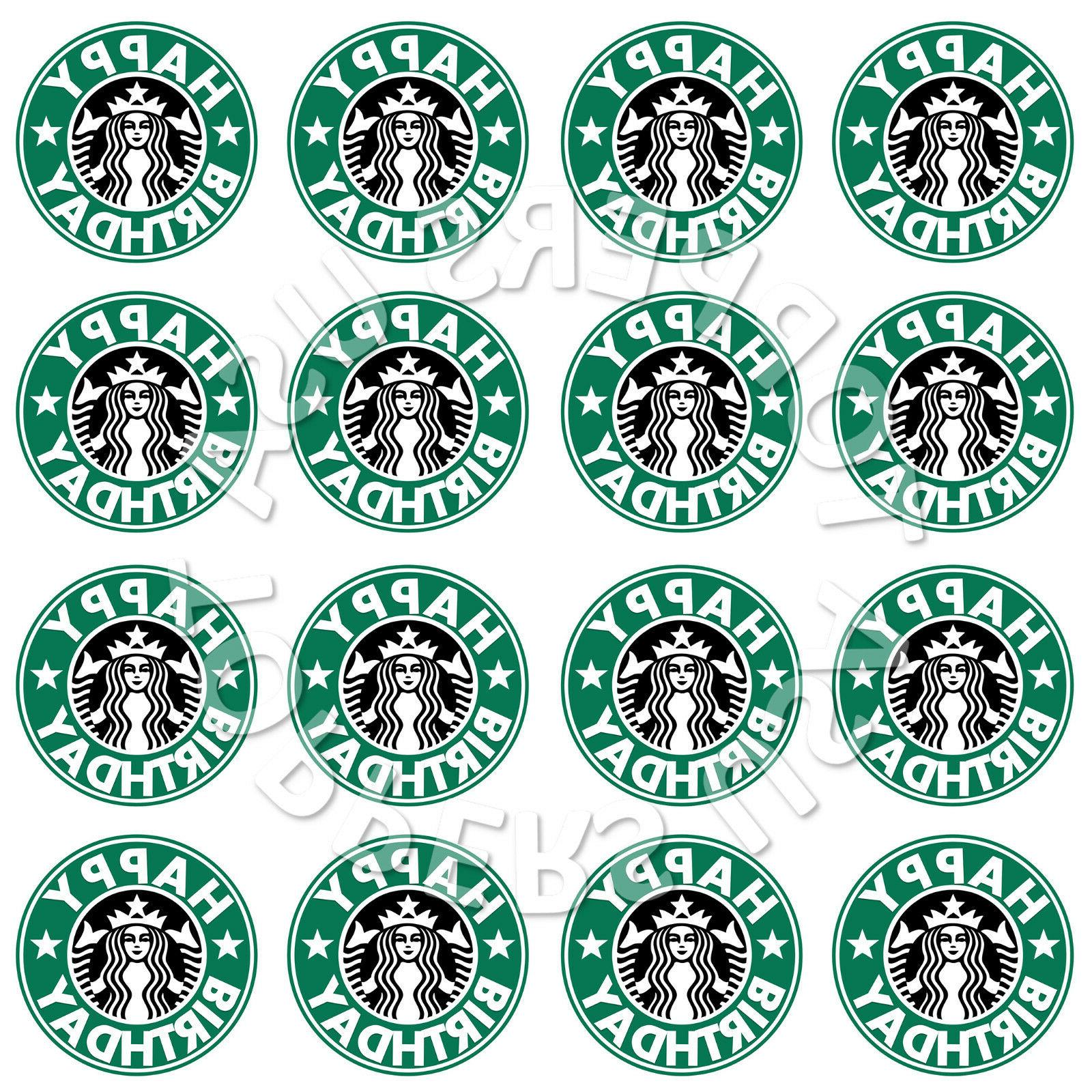 16x edible starbucks logo birthday party cupcake