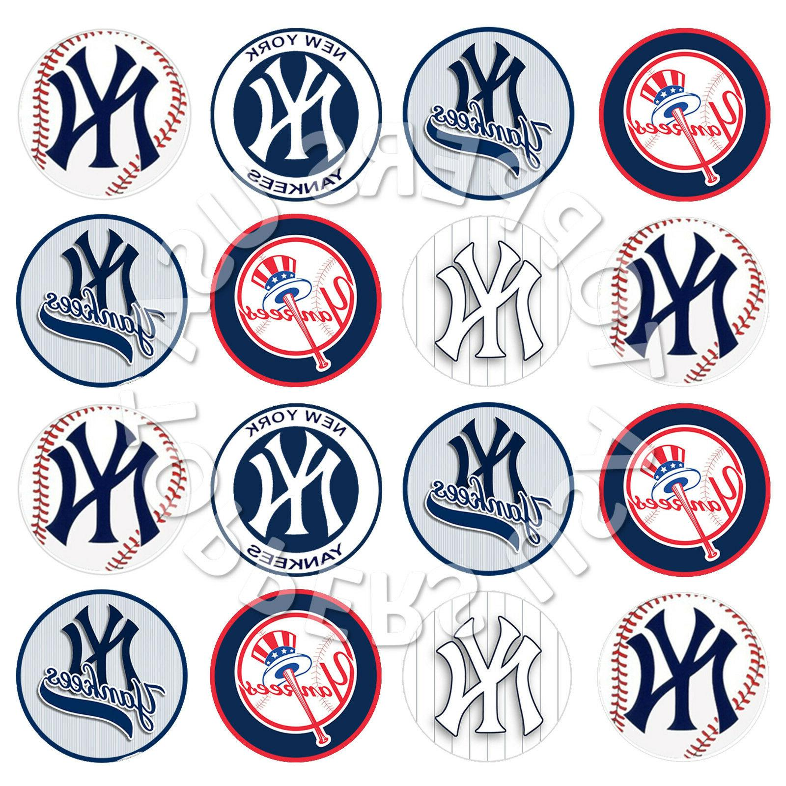 16x EDIBLE Yankees Baseball Cupcake Toppers Wafer Paper 4cm