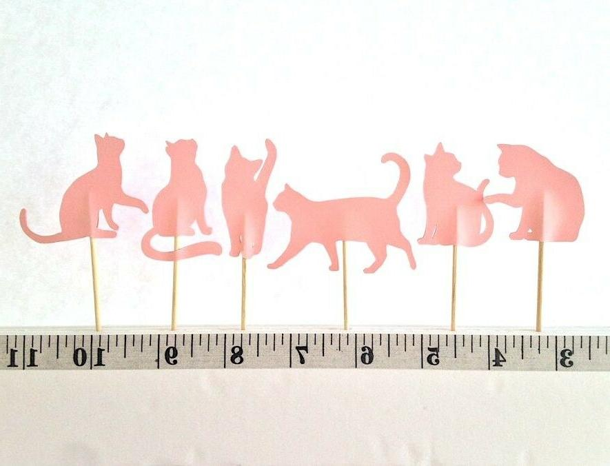 18 pastel pink cat cupcake toppers birthday