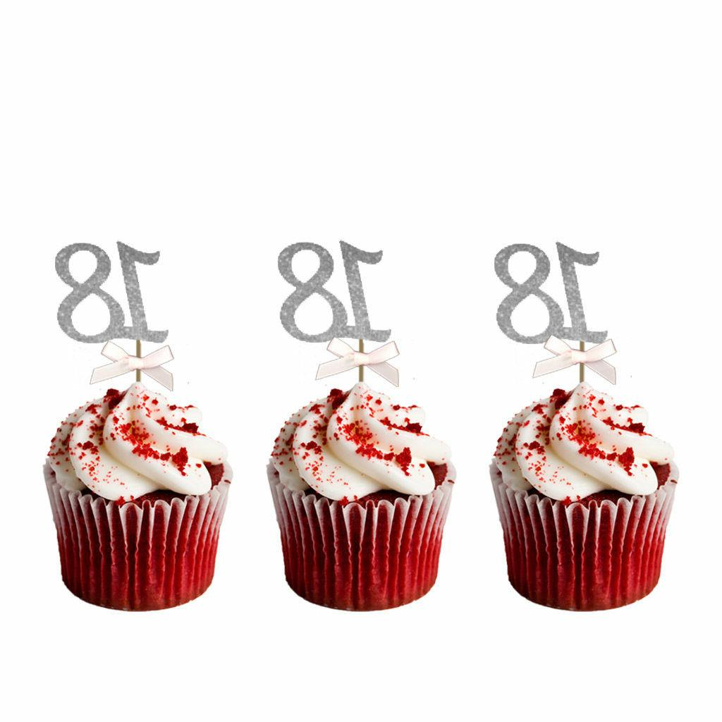 18th birthday cupcake toppers glittery silver