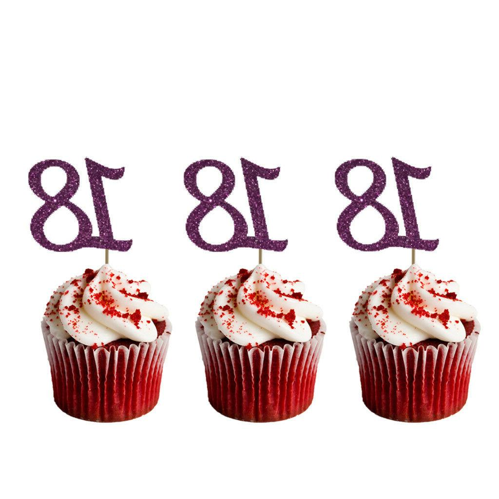 18th Cupcake - Number Glittery Purple Pack