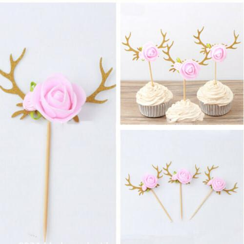 1Pc Flower Antler Cupcake Picks Cake Toppers Decor Kids Birt