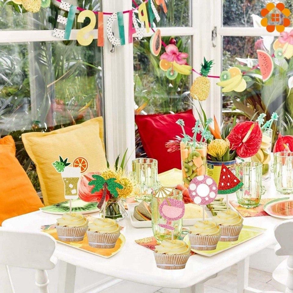 1Set Flamingo <font><b>Pineapple</b></font> Palm Birthday Shower Supplies