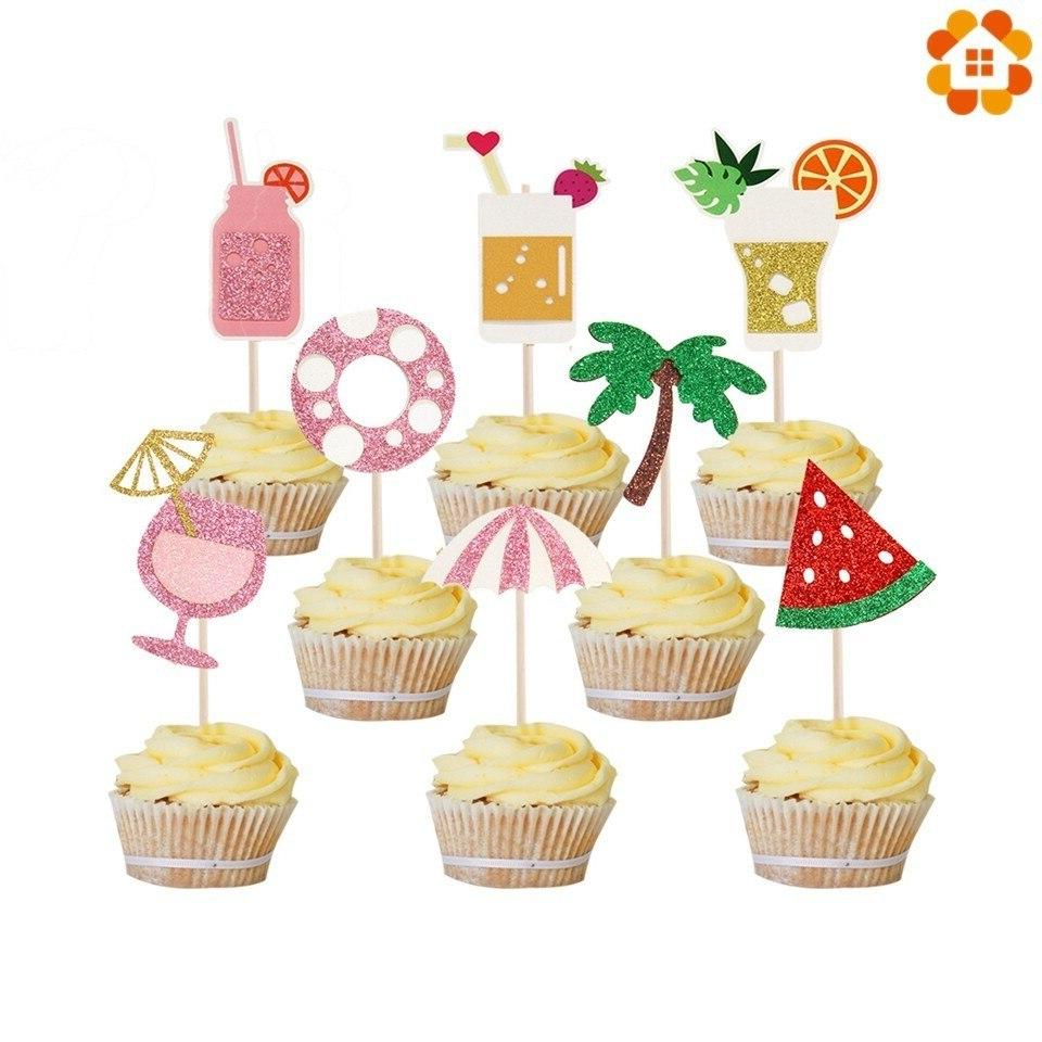 1Set <font><b>Pineapple</b></font> <font><b>Toppers</b></font> Summer Party Birthday Shower Decorations Supplies