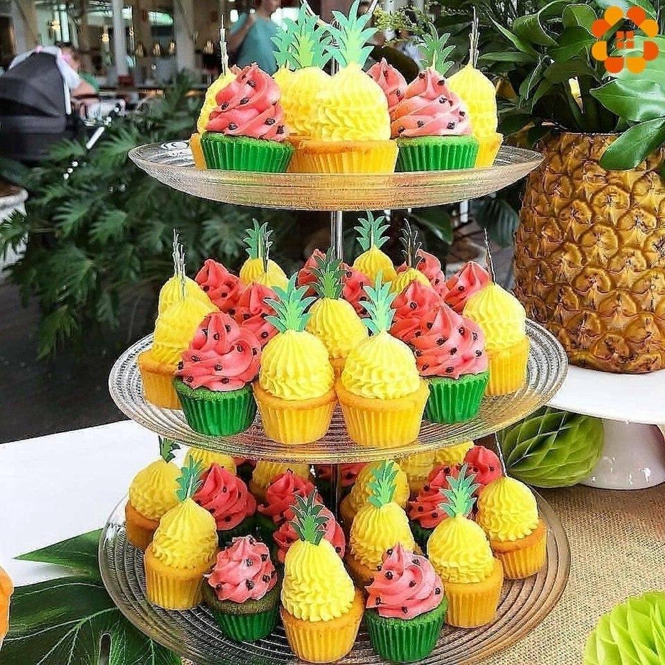 1Set Flamingo <font><b>Cupcake</b></font> <font><b>Toppers</b></font> <font><b>Pineapple</b></font> Palm Summer Party Birthday Shower Supplies