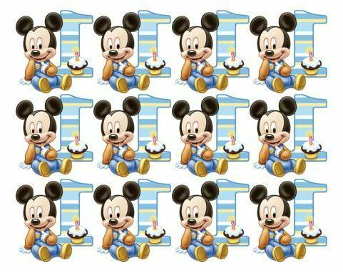 1st birthday mickey mouse cupcake toppers edible