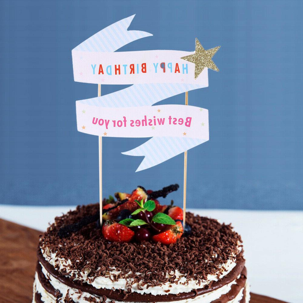 2 pcs Star Words Cartoon Toppers Papery Dessert