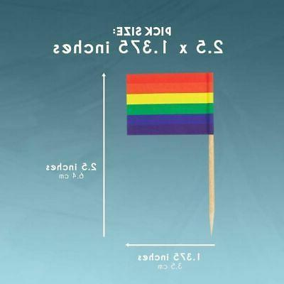 200PCS Rainbow Flag Toppers Pride