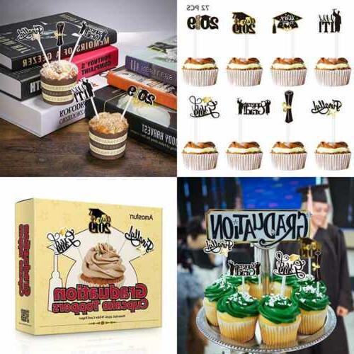 2019 graduation cupcake toppers 72pcs grad cake