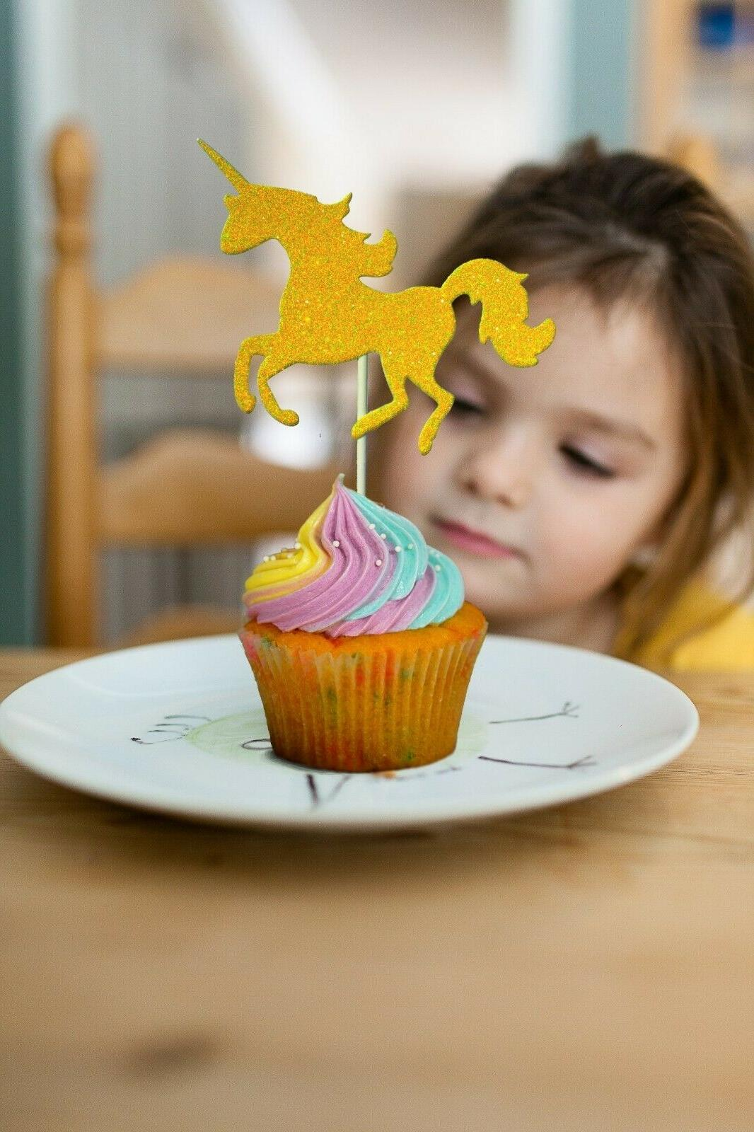 Unicorn Birthday 26pc Gold Toppers + Cake Topper
