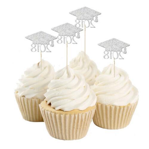20pcs 2018 Graduation Cap Cupcake Picks Cake Toppers Grad Pa