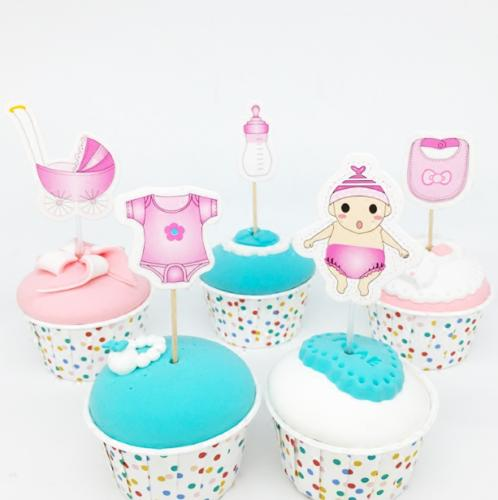 20Pcs Baby Girl Toppers Reveal Party Decoration