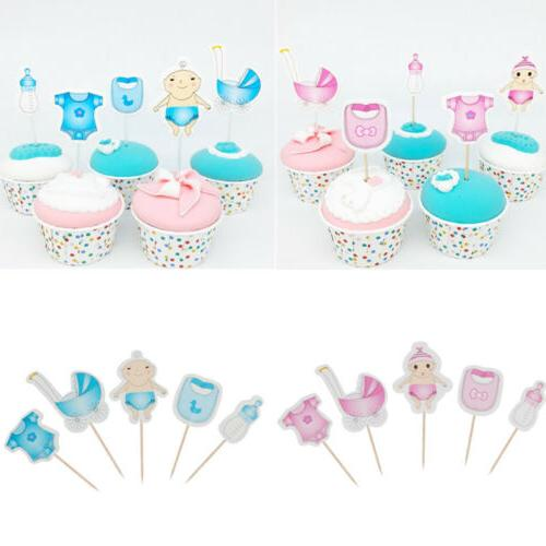 20pcs baby shower boy girl cupcake toppers