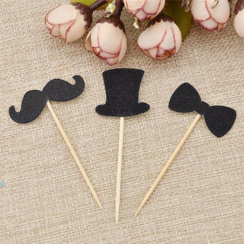 20pcs Hat Cake Pick Bamboo Stick Snacks Cupcake Toppers Deli