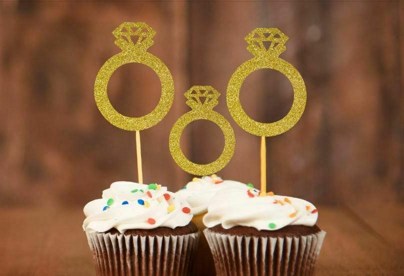 20x Engagement toppers Wedding Cupcake Toppers