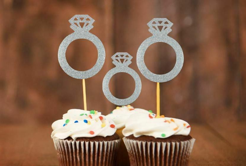 20x engagement ring cupcake toppers wedding ring
