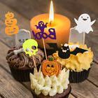 20x Felt Halloween Cupcake Toppers Food Picks Pumpkin Bat Gh