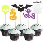 20x Halloween Props Cake Decoration Felt Cupcake Toppers Pum