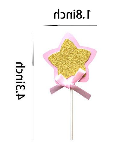 Star Cupcake Toppers Picks, Glitter Cake Toppers, Baby Girls Shower Birthday Party Wedding Supplies