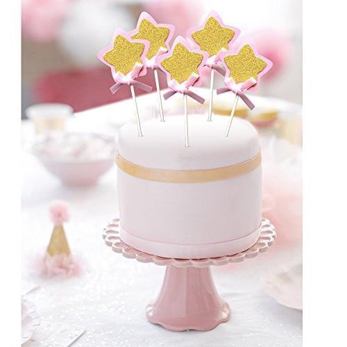 21-pac Pink Star Picks, Glitter Star Cake Baby Shower Party Supplies