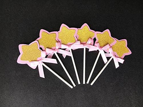21-pac Pink Star Glitter Star Baby Shower Party Supplies