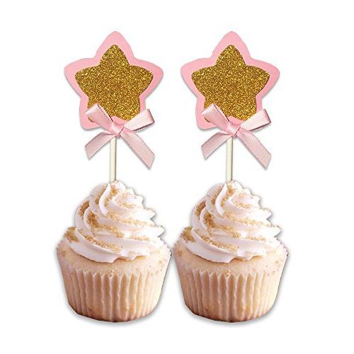 Star Glitter Star Baby Girls Party Wedding Cake Supplies