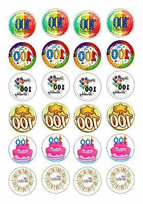 24 100th birthday cupcake topper wafer rice