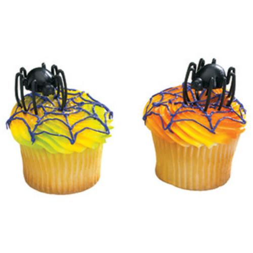 24 - 3D Hunchback Spider Cupcake Toppers Halloween Insect Bu