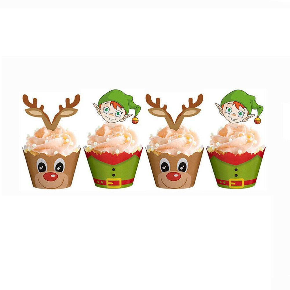 24/48PCS Christmas Cake Picks Set