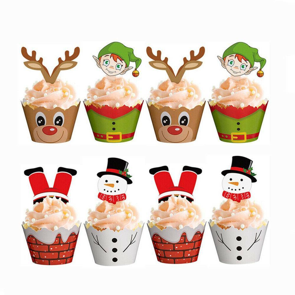 24/48PCS Christmas Toppers Party Decor Cake Picks