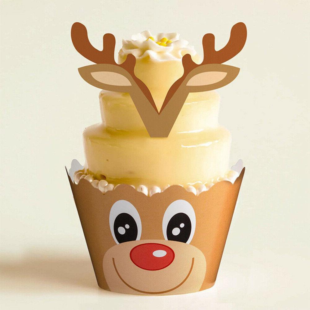 24/48PCS Christmas Toppers Cupcake Cake