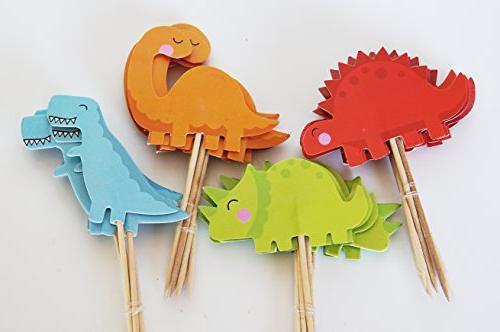 24 Dinosaur Toppers + Red Fox Tail