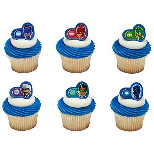 24 Pj Masks Heroes And Villians Rings Cupcake Cake Toppers B
