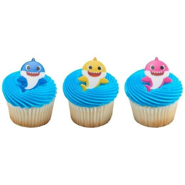 24 baby shark party cupcake rings toppers