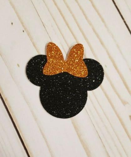 24 black and orange minnie mouse cupcake