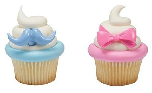 24 Boy Blue Mustache or Girl Pink Bows Gender Reveal Party T