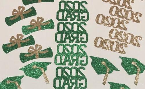 24 Class Of Graduation Decor Green & Gold Glitter