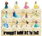 24 - DISNEY PRINCESS Mini Cupcake Toppers / Birthday Party S