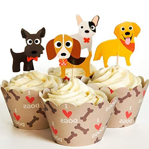 24 dog cupcake toppers wrappers