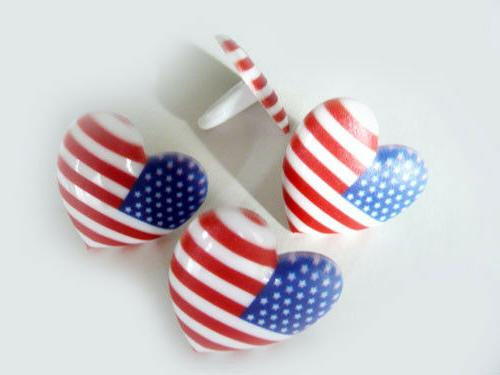 24 I Love the USA Cupcake Rings Cake Toppers Decorations Fou