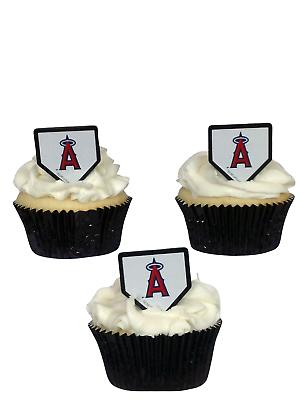 24 Los Angeles Angels Cupcake Rings Toppers MLB Baseball Dec