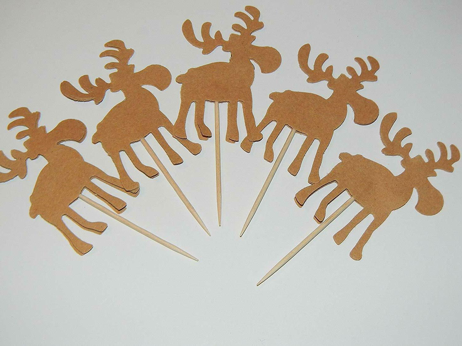 24 moose cupcake toppers woodland baby shower