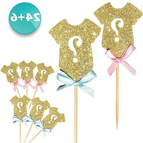 24-pack Glitter Gender Reveal Cupcake Toppers, Gender Reveal