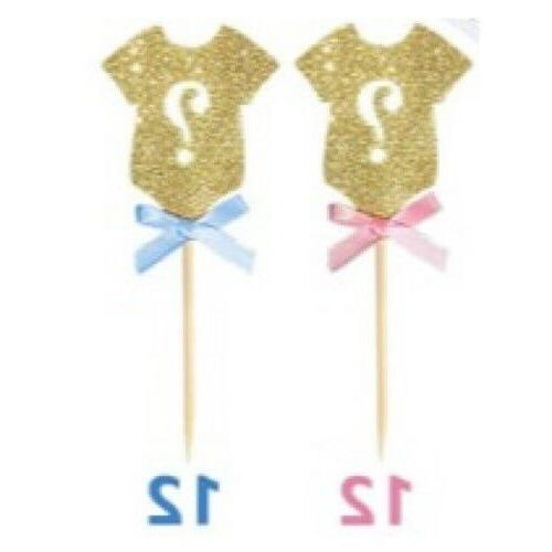 24 pack glitter gender reveal cupcake toppers